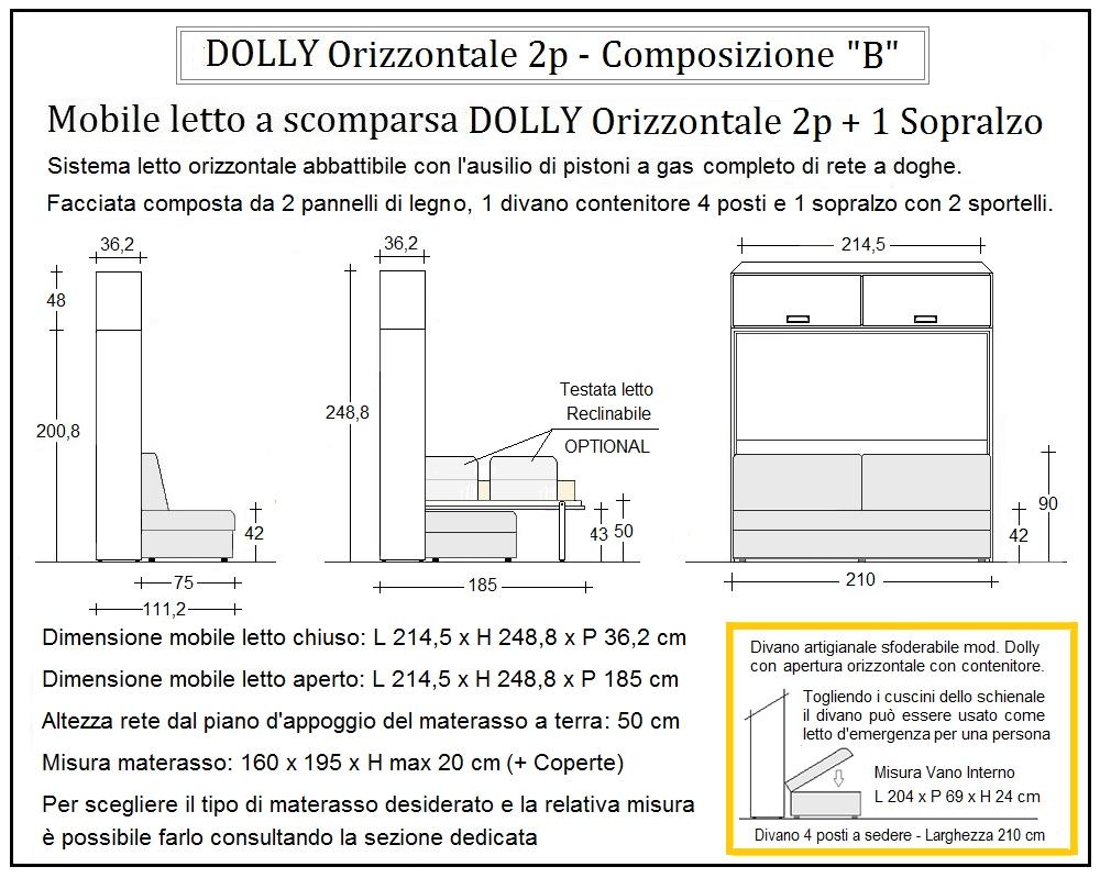 scheda tecnica letto a scomparsa dolly orizzontale composizione b
