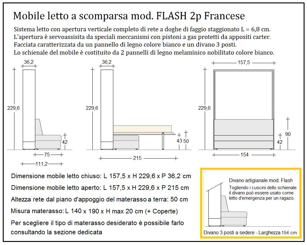 scheda tecnica letto a scomparsa flash