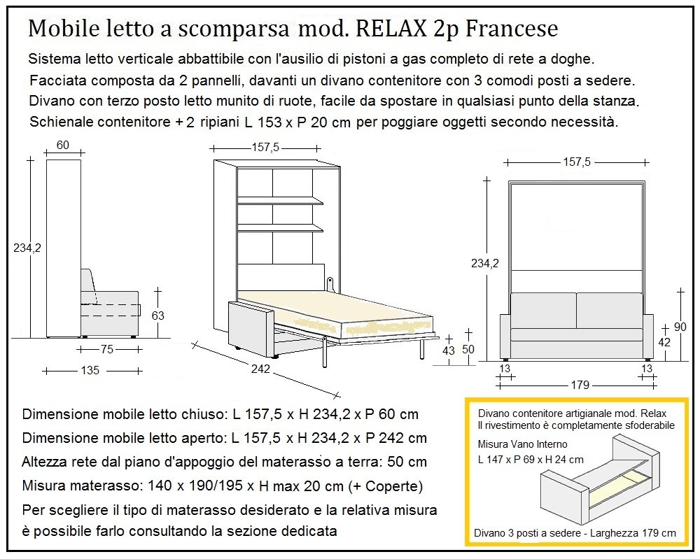 scheda tecnica letto a scomparsa letti due piazze francese relax