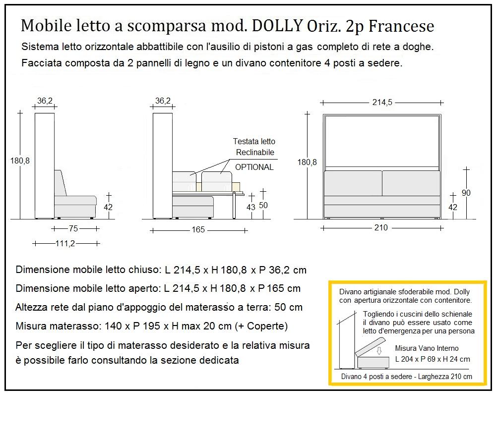 scheda tecnica letto a scomparsa dolly orizzontale