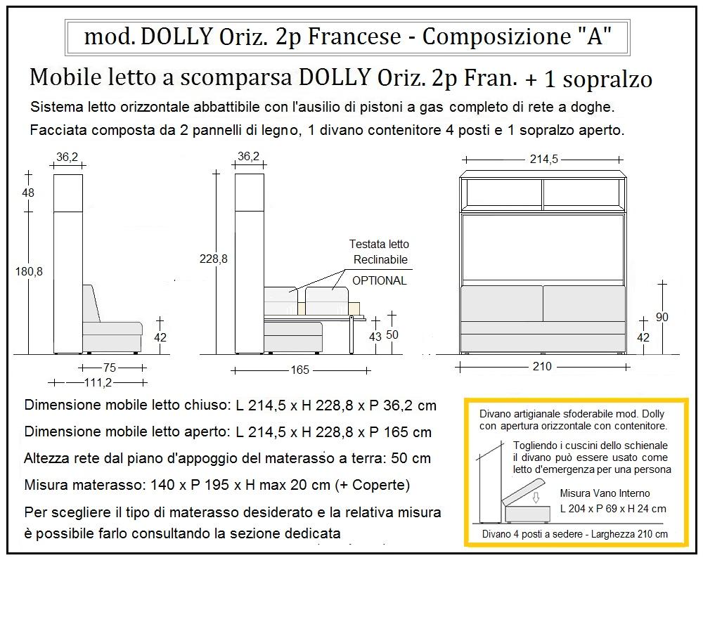 scheda tecnica letto a scomparsa dolly orizzontale composizione a