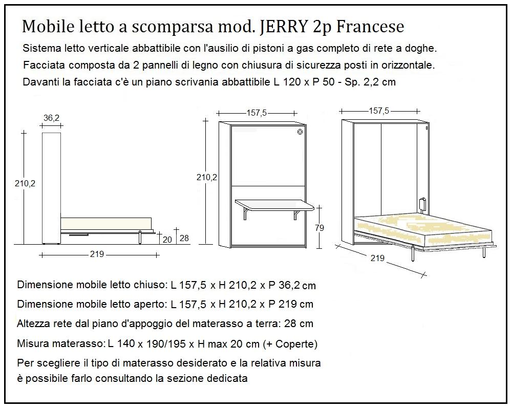 scheda tecnica letto a scomparsa jerry