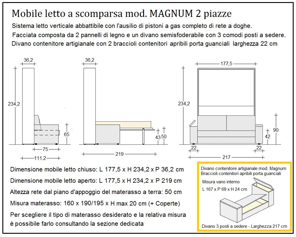 scheda tecnica letto a scomparsa magnum