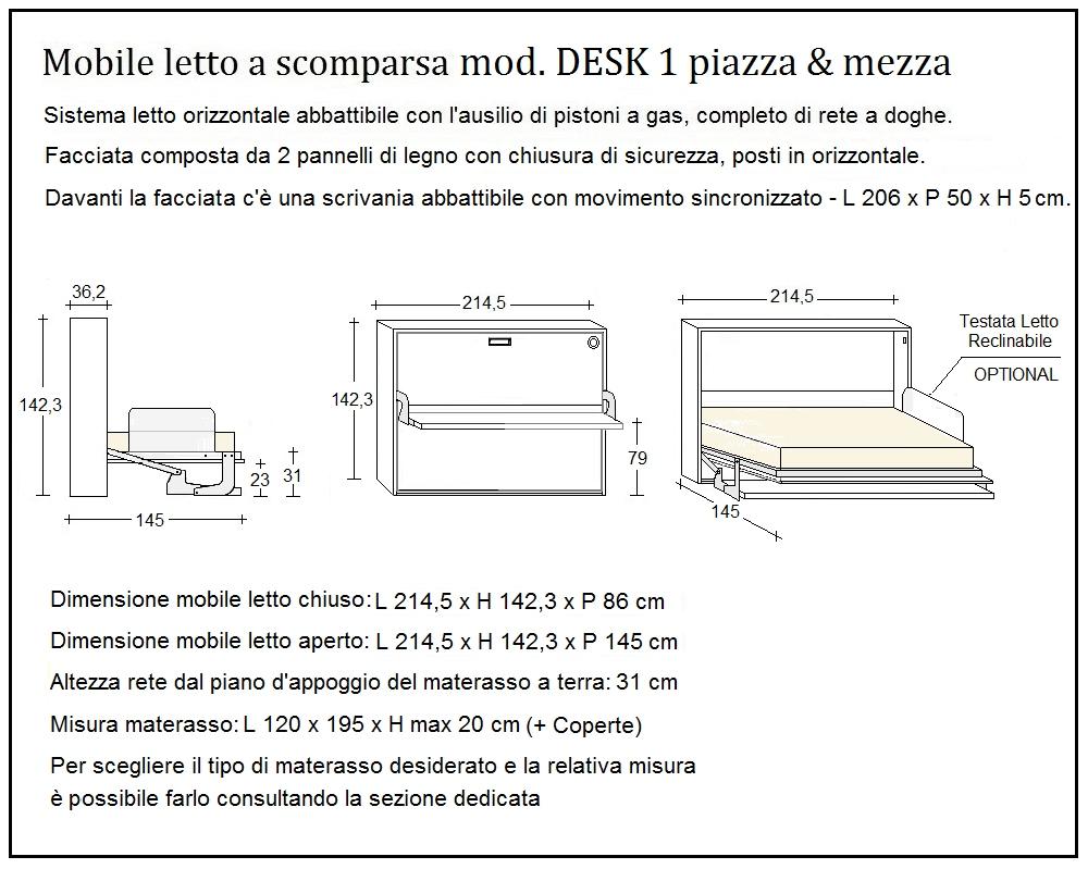 scheda tecnica letto a scomparsa desk