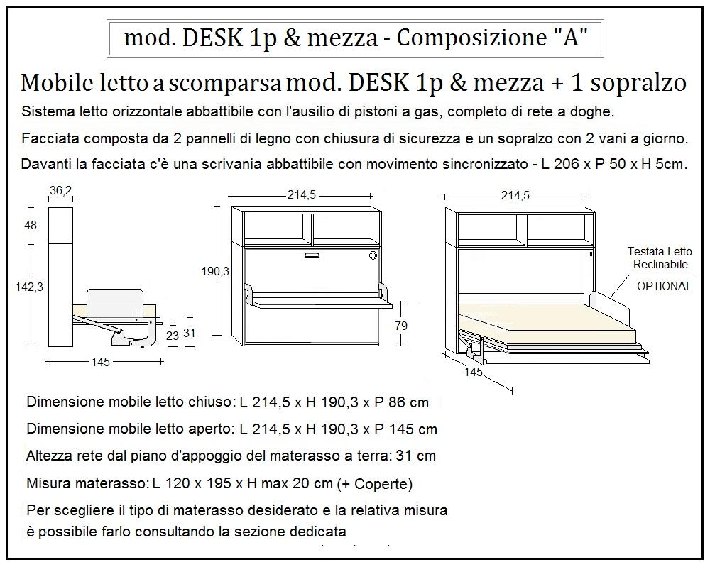 scheda tecnica letto a scomparsa desk composizione a