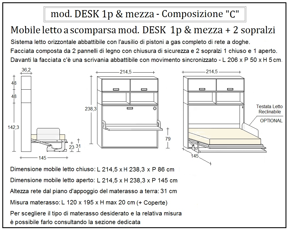 scheda tecnica letto a scomparsa desk composizione c