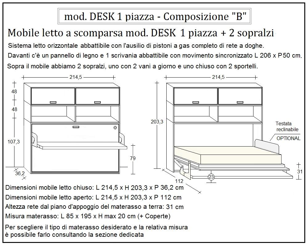 scheda tecnica letto a scomparsa desk composizione b