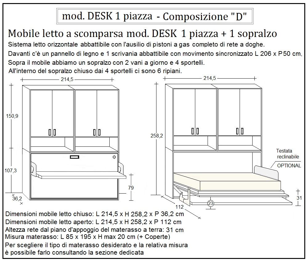 scheda tecnica letto a scomparsa desk composizione d