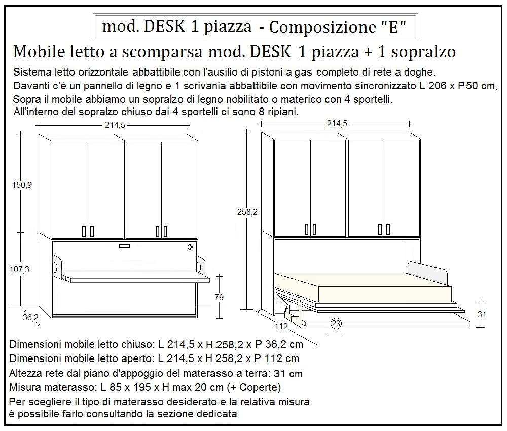 scheda tecnica letto a scomparsa desk composizione e