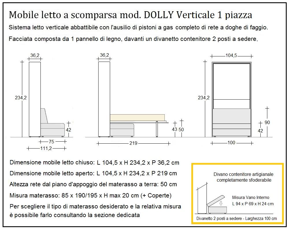 scheda tecnica letto a scomparsa dolly verticale