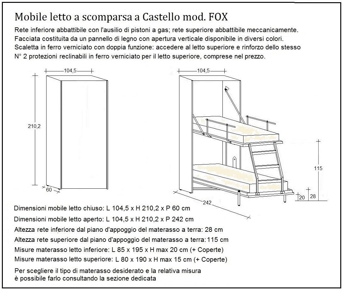 scheda tecnica letto a scomparsa fox